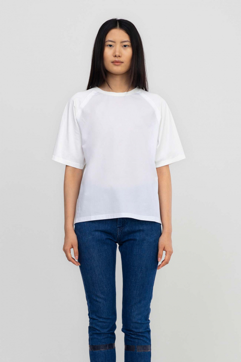 T-shirt 7000 in cotton and popeline white