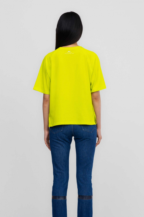 T-shirt 7000 in cotton and popeline lime