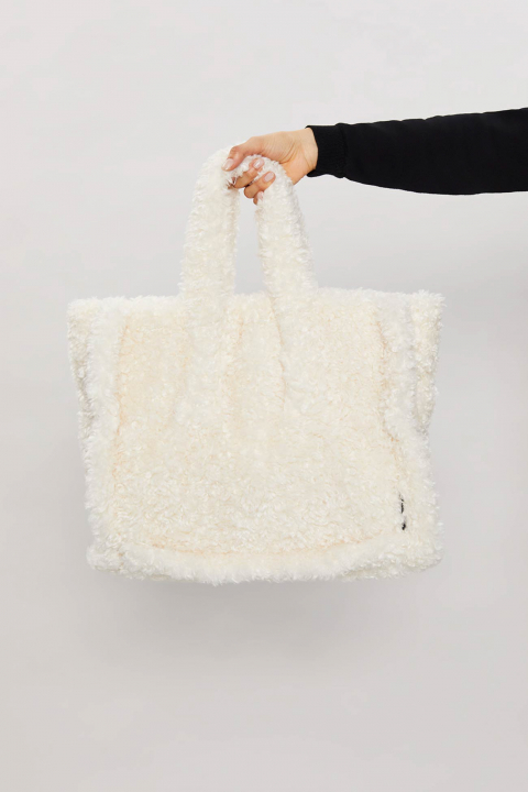 TOTE BAG IN FAUX FUR 3029 - RAW LINEN
