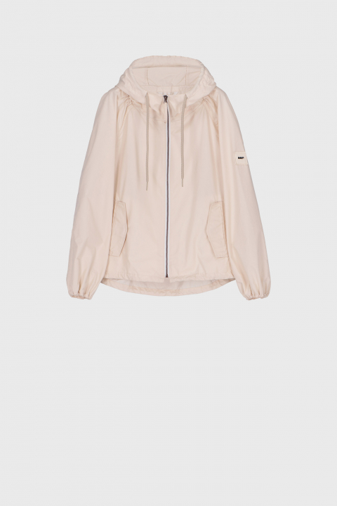 Women's oversized blouson with hood and drawstring in ecru