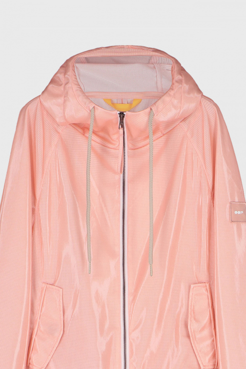 Women's oversized blouson with hood in glossy pink fabric