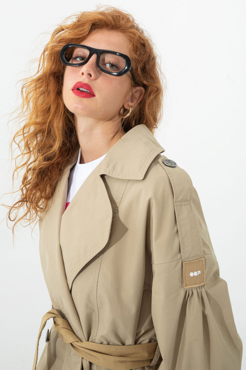 Women's long double-breasted trench coat in rope cotton blend