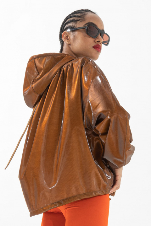 Oversized blouson with hood in glossy tobacco fabric