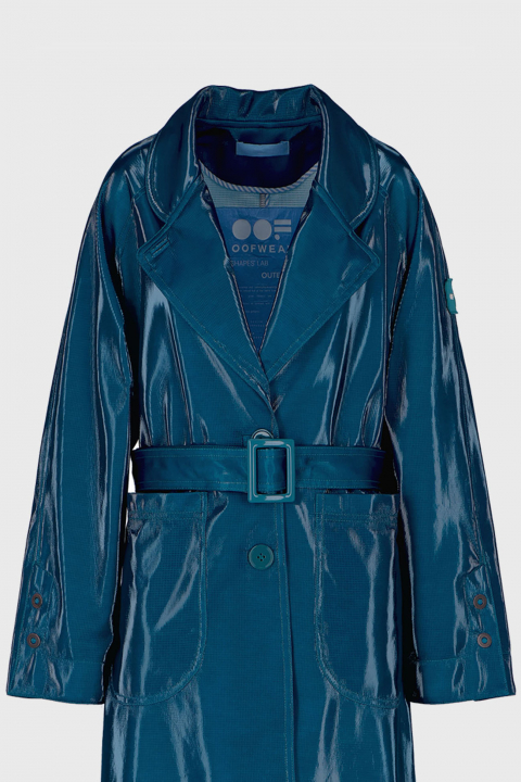 Women's waterproof trench coat with belt in glossy blue