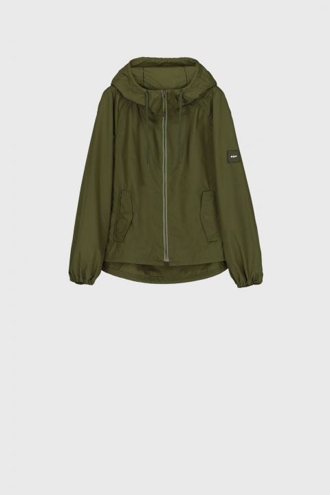 Women's oversized blouson with hood and drawstring in green
