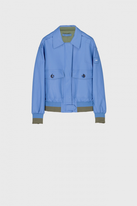 Women's eco-leather bomber jacket in light blue
