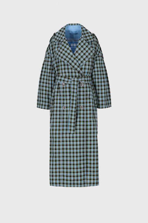 Women's long double-breasted trench coat in green check cotton