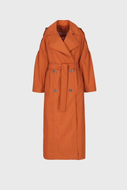 Women's long double-breasted trench coat in rust cotton blend