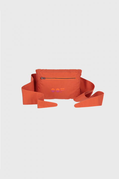 Multifunctional waist bag with logo in rust cotton blend
