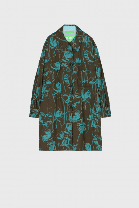 Women's oversized shirt style jacket in green with light blue flower print