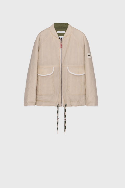 Women's padded reversible bomber jacket in natural white and green