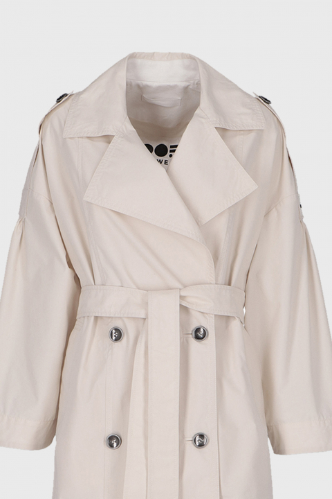 Women's long double-breasted trench coat in ecru cotton blend