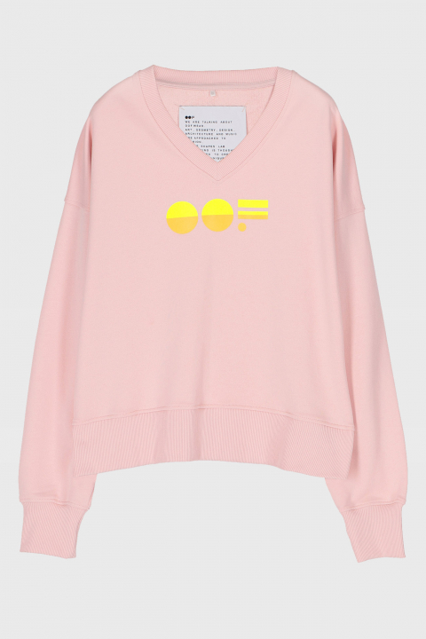 Women's pink cotton sweatshirt  with V neck