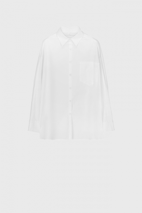 Women's oversized shirt style sweatshirt in white cotton and jersey