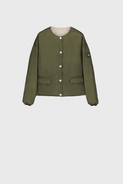 Short padded and reversible jacket in ecru and green