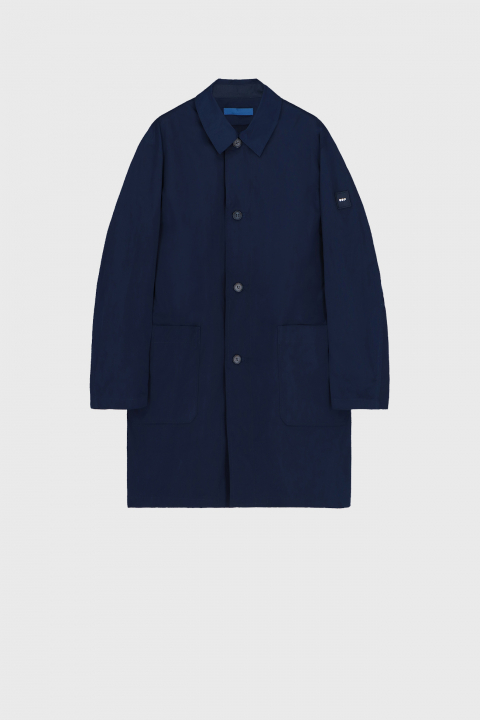 Men's long raincoat with shirt neckline in midnight blue