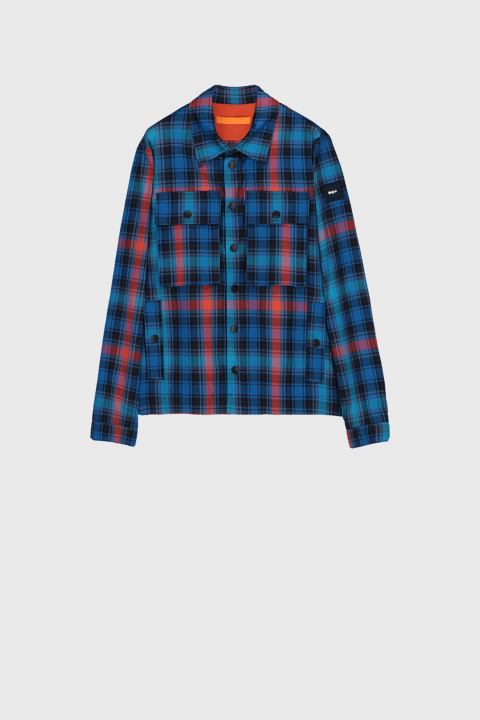 Men's shirt-style jacket in check printed cotton