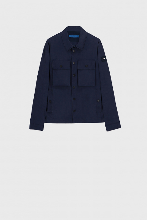 Men's shirt-style jacket in midnight blue cotton blend