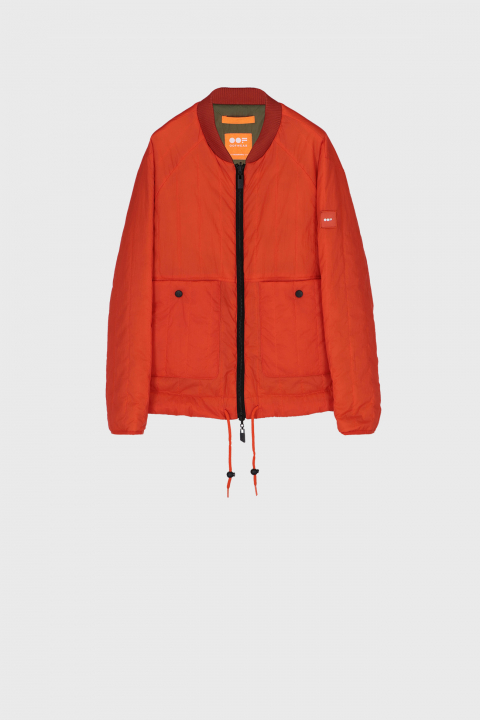 Men's padded oversized bomber jacket orange/green