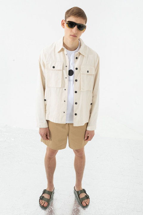 Men's shirt-style jacket in greige cotton blend