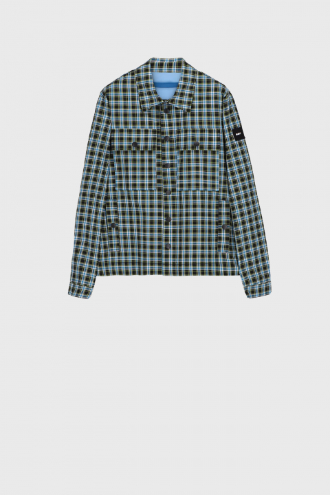 Men's shirt-style jacket in green check printed cotton