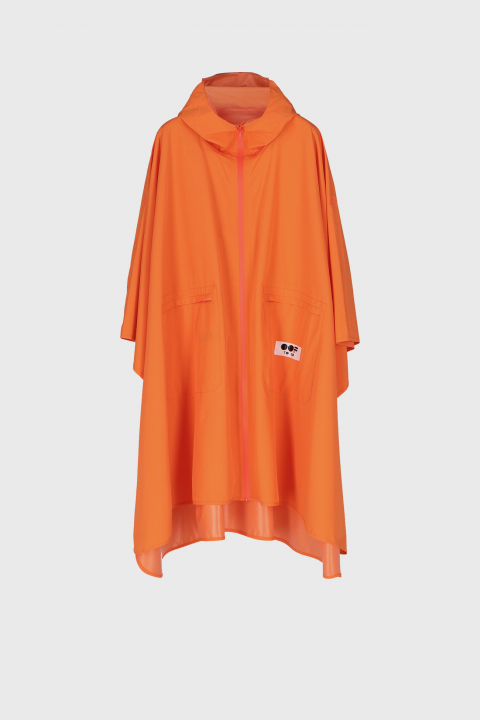 Women's waterproof cape with hood in fluorescent orange