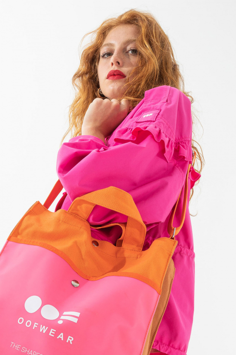 Short oversized blouson with ruches and drawstring in shocking pink