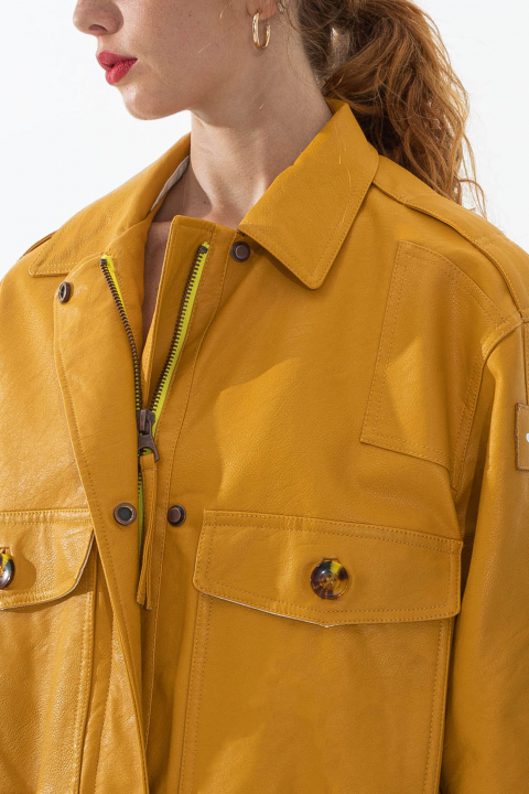 Women's eco-leather bomber jacket in yellow