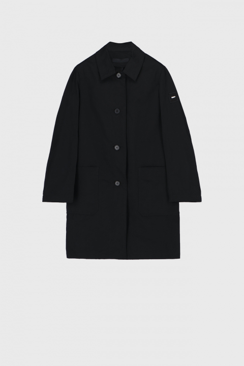 Men's long raincoat with shirt neckline in black