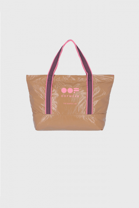 Glossy shopping bag with logo in beige