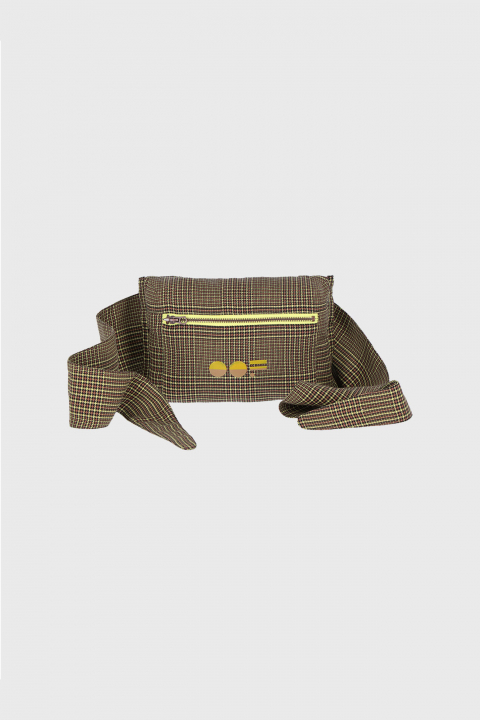 Multifunctional waist bag with logo in earthy brown checked cotton