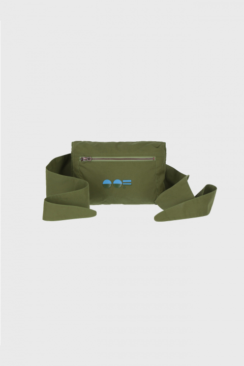 Multifunctional waist bag with logo in green cotton blend