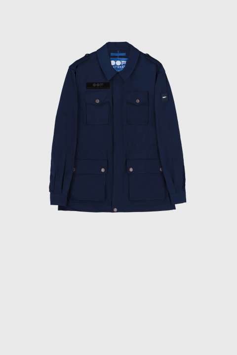 Men's short safari jacket in midnight blue military style memory