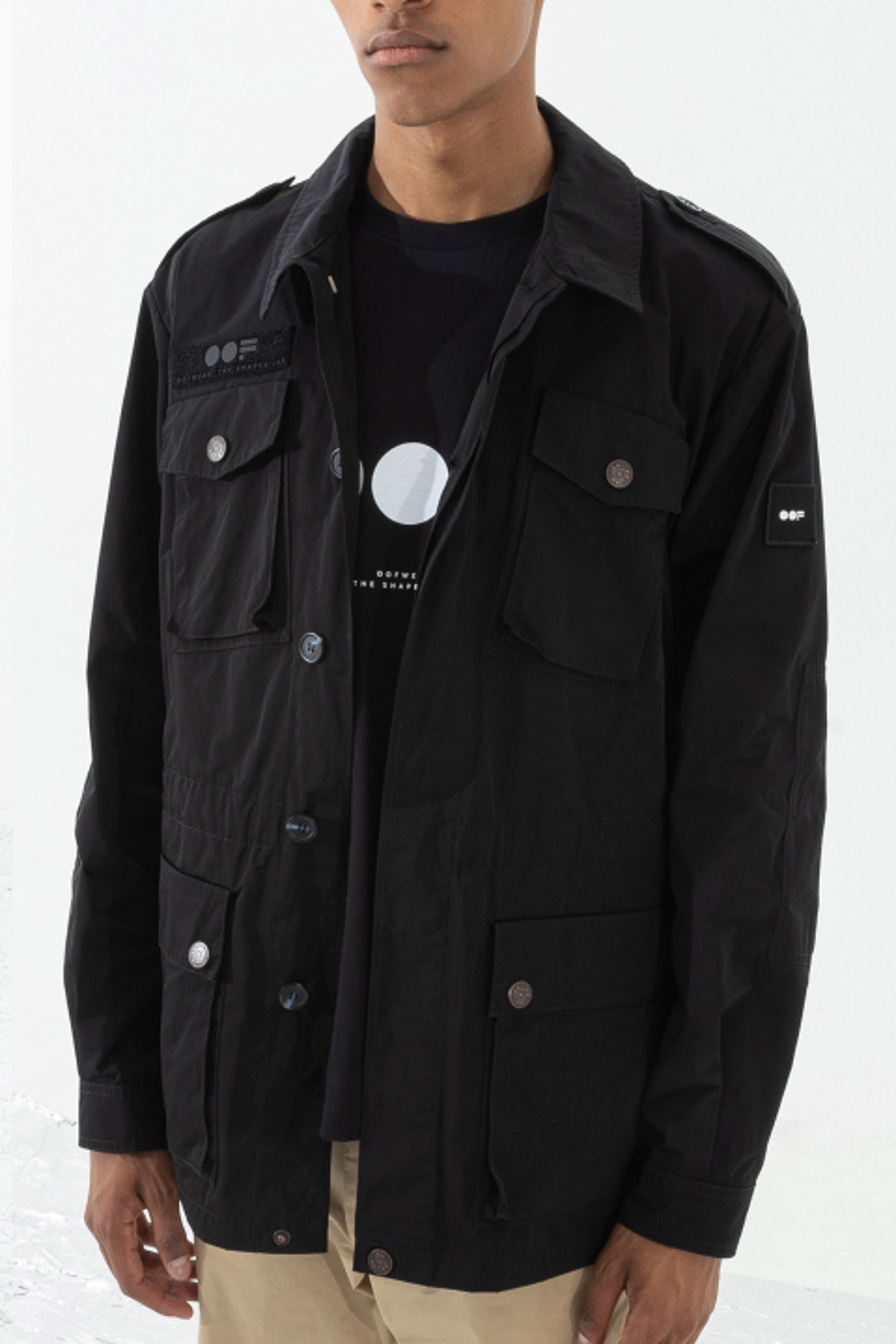 Men's short safari jacket in black military style memory