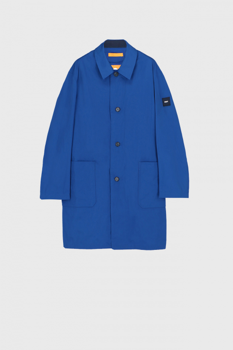 Men's long raincoat with shirt neckline in bluette