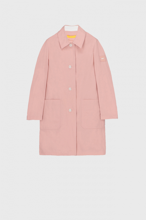 Women's long raincoat with shirt neckline in pink