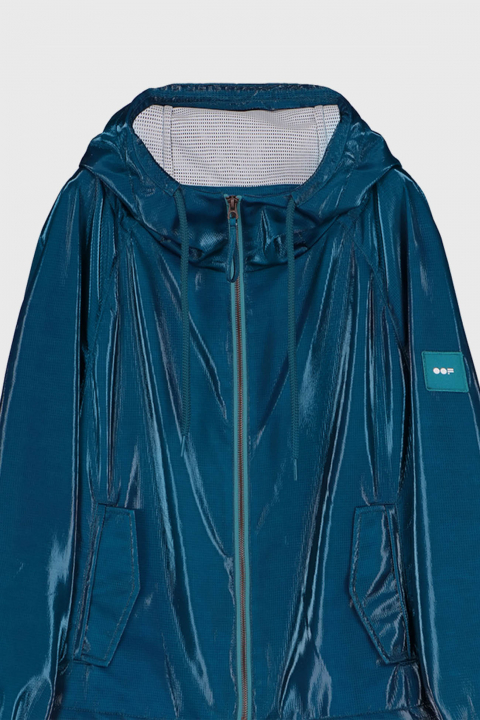 Oversized blouson with hood in glossy blue fabric
