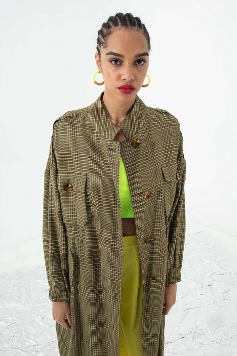 Women's long duster coat in earthy brown check cotton