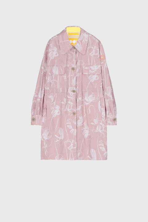 Women's oversized shirt style jacket in pink with white flower print