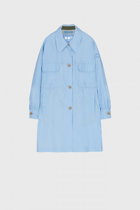 Women's oversized shirt style jacket in light blue cotton
