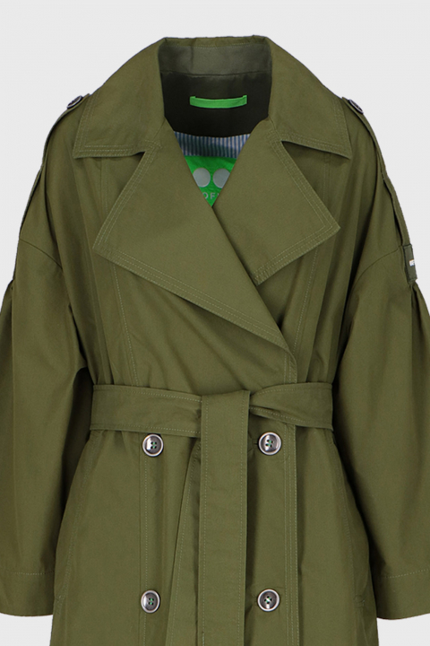Women's long double-breasted trench coat in green cotton blend