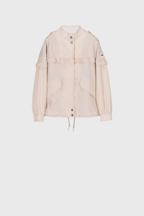 Short oversized blouson with ruches and drawstring in ecru