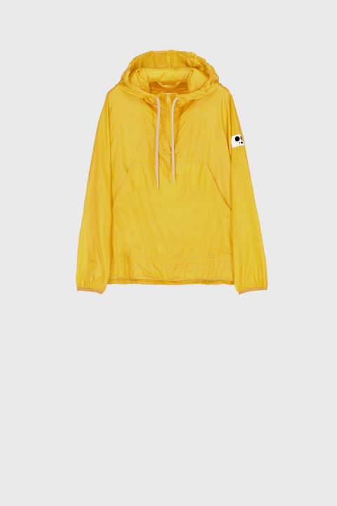 Unisex ultralight nylon sweatshirt with hood in yellow