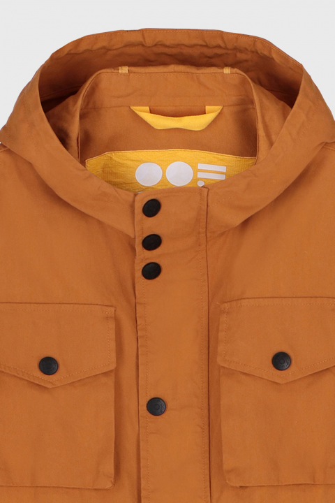 Men's short jacket with hood and patch pockets in caramel