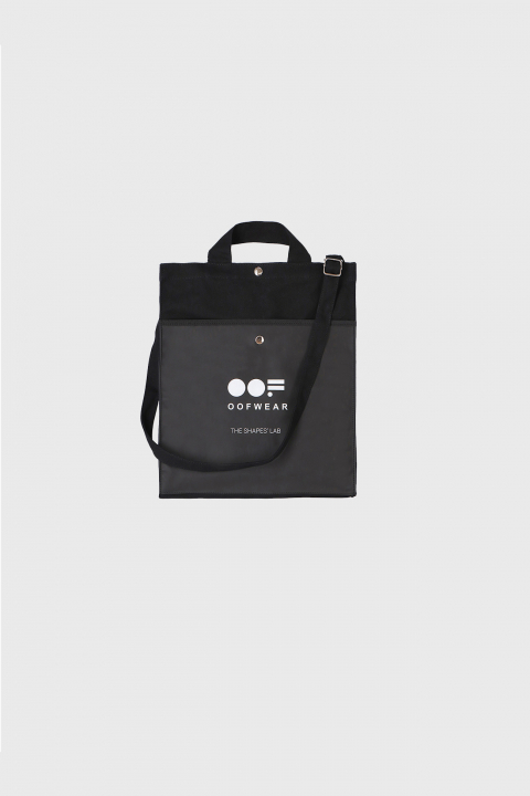 Shoulder bag with logo in black cotton