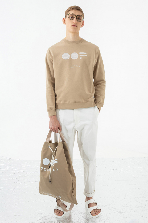 Shoulder bag with logo in beige