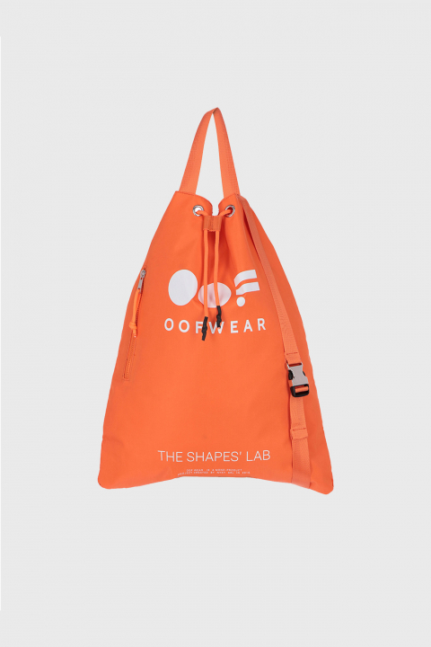 Shoulder bag with logo in orange
