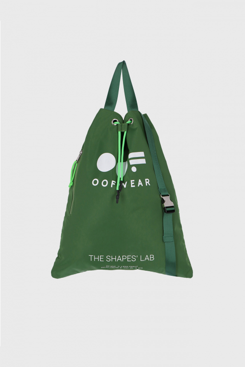 Shoulder bag with logo in green