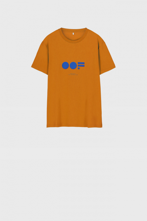 Men's crew neck t-shirt in orange cotton with logo