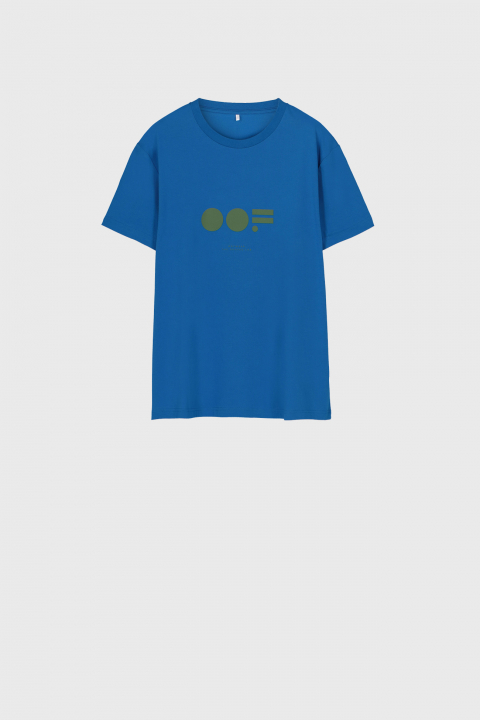 Men's crew neck t-shirt in bluette cotton with logo
